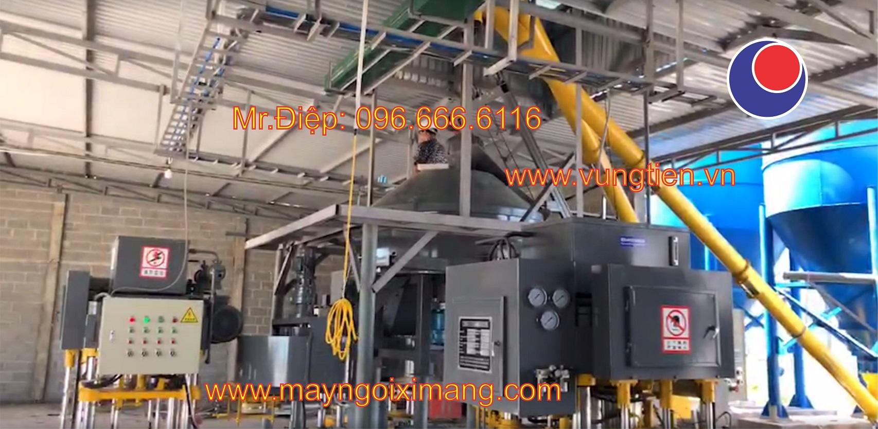 Lắp ráp bộ ba máy ép ngói xi măng tháng 102019